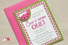 Gingham Watermelon Birthday Party Invitations by peasandthankyous