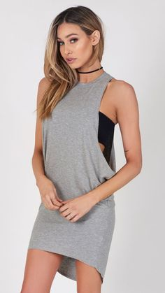 Thin Ribbed High Neck Muscle Tank Dress