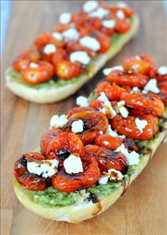 5-ingredient French bread pizza isn't lacking flavor when you spread pesto, roasted tomatoes, and Joan of Arc® brand Goat Cheese with Garlic