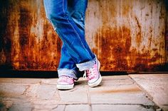 Person in Blue Jeans and Pink White Converse All Star Sneakers · Free Stock Photo