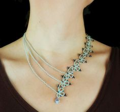 Light blue tatting lace necklace 'Blue clover'. Lace necklace with glass beads. Tansyjay. Etsy.