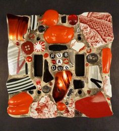 Kelly Aaron Rub-A-Dub Red Mosaic Double Light Switch Plate