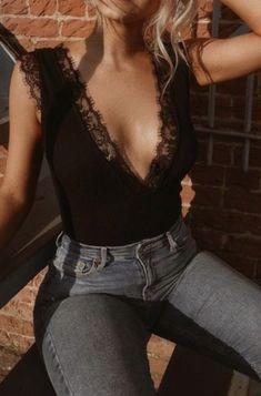 lace bodysuits + denim #ootd