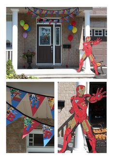 Avengers Party Decor— collected cardboards and started to create full size cut-outs. For the banner I decided to include each Avenger on a different flag. We searched the internet for a drawing we could print of Iron Man. We used a method very similar to the one they teach kids in coloring books. We created a grid around the drawing and increased the size on the cardboard.