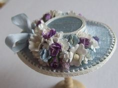 Pretty 1/12 scale handmade dollshouse miniature blue silk hat