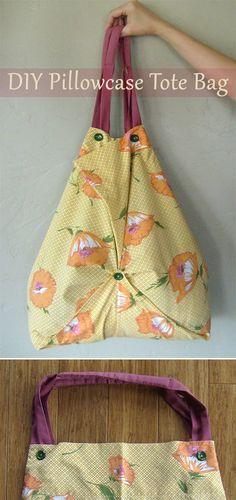 Refashion Tutorial: Pillowcase Tote Bag : Refashion Tutorial: Pillowcase Tote B… – Sewing Projects Bag Patterns To Sew, Tote Pattern, Sewing Patterns, Skirt Patterns, Wallet Pattern, Blouse Patterns, Diy Tote Bag, Diy Purse, Pillowcase Bag