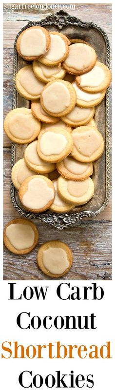 A low carb and entirely sugar free take on classic shortbread biscuits. Low Carb Coconut Shortbread Cookies are light, buttery and crumbly with a deliciously rich coconut butter glaze. Perfect for diabetics, gluten free and LCHF diets. Sugar Free Desserts, Sugar Free Recipes, Low Carb Recipes, Keto Desserts, Cookie Recipes, Scone Recipes, Ketogenic Recipes, Lunch Recipes, Vegan Recipes