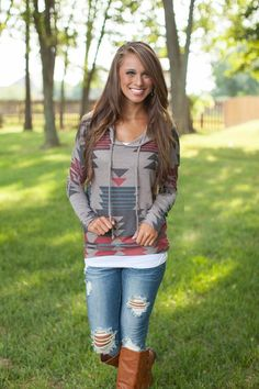 Mocha Aztec Hoodie so cute and comfy!  www.thechicfind.com