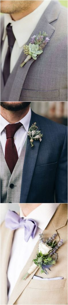 lavender themed wedding Boutonnieres