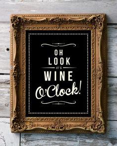 Retro Inspirational Quote Giclee Art Print - Vintage Typography Decor - Customize - Wine O'Clock Grape Berry UK