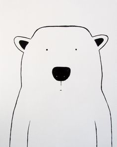 "Modern Kids and Nursery Polar Bear Art Original Painting - 16"" x 20"" on regular 3/4"" depth canvas - The Polar Bear"