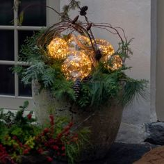 Check out Shop the Look: Celestial Spheres in Aged Containers from Terrain Flower Decorations, Christmas Decorations, Holiday Decorating, Fall Window Boxes, Led Christmas Tree, Christmas 2019, Christmas Ideas, Xmas, Wreath Hanger