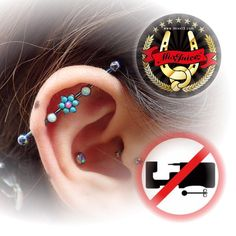 Healed Industrial Piercing with ANATOMETAL Implant Grade Titanium OIL SLICK anodized, Gemmed Industrial Bar on Threaded Flower End 2mm Gems TURQUOISE and HOT PINK and Threaded Bezel Set Gem End 3mm Cabochon WHITE...