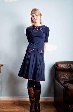 Knielange Kleider - Marineblaues 60er Jahre Jerseykleid - ein Designerstück von…