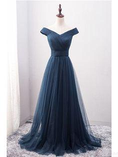 Off Shoulder prom dresses,V-neck Long Tulle evening dresses, Long  Prom Dresses Evening Dresses #SIMIBridal #promdresses