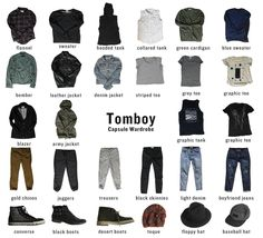 Capsule Wardrobe for Tomboys. How to combine only 32 pieces of clothing to create a capsule wardrobe. This is a tomboy inspired wardrobe. Best Picture For Tomboy Outfit for school For Your Taste You a Tomboy Chic, Tomboy Fashion, Tomboy Look, Queer Fashion, Fashion Outfits, Fashion Trends, Tomboy Style, Butch Fashion, Boyish Style