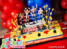 WWE Birthday Party Wrestling Birthday Cakes, Wrestling Party, Wwe Birthday, 9th Birthday Parties, Lego Birthday Party, Halloween Birthday, Birthday Celebration, Wwe Cake, Wwe Party