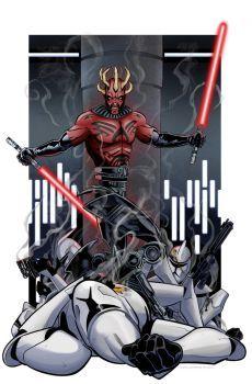 Darth Maul vs. Clone Troopers by Kminor