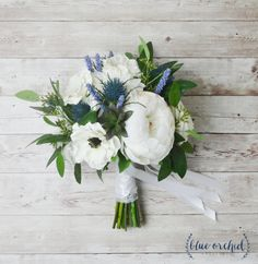 Silk Boho Bouquet - Peony Bouquet, Silk Peonies, Anemones, Thistles, White Bouquet, Wedding Bouquet, Boho Chic Bouquet, Cream, Blue Bouquet by blueorchidcreations on Etsy