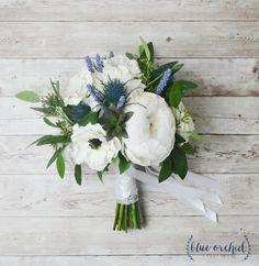 Silk Boho Bouquet - Peony Bouquet, Silk Peonies, Anemones, Thistles, White Bouquet, Wedding Bouquet, Boho Chic Bouquet, Cream, Blue Bouquet by blueorchidcreations on Etsy