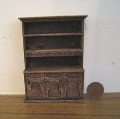 Hutch, or Kitchen dresser,   Tudor, ,  Half Scale Dollshouse Miniature. $18.50, via Etsy.