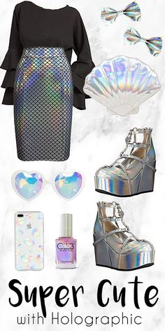 Get This Look. Super Cute with Holographic Holographic as in reflecting rainbow Cute Girl Outfits, Teen Fashion Outfits, Mode Outfits, Outfits For Teens, Trendy Outfits, Pastel Goth Fashion, Kawaii Fashion, Cute Fashion, Girl Fashion