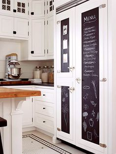 white kitchen + chalkboard