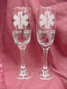 personalized ems wedding flutes
