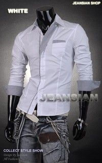 New Mens Plain Slim Fit Shirts Casual  Basic Office Work Shirt S M L XL XXL PS1