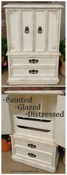 Off White Vintage Clothing Armoire. Distressed FurnitureRefinished ...
