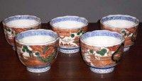 set of 5 antique gold Imari soba choko