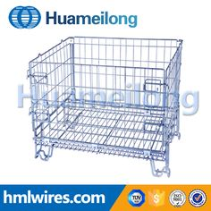 Light duty industrial stackable storage steel wire mesh container