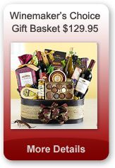 This big, beautiful basket is filled with treasures from California's wine country. This gift features three distinctive bottles of wine: a chardonnay, a Merlot and a Cabernet Avignon to complement an array of sweet and savory gourmet selections. There's something for everyone, including assorted Ghirardelli chocolates, delicious chocolate-dipped biscotti, Columbus salami, Crostini, olives, cheese and nuts. $129.95