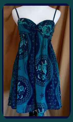 Free People Blue Green Sundress Size XS 66170 Free Shipping | eBay