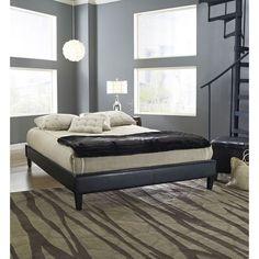 Full Modern Platform Bed Frame Upholstered in Black Faux Leather