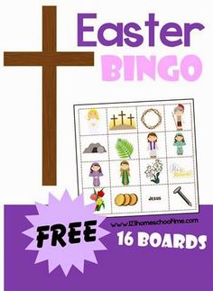 Easter Bingo - FREE printable game for Sunday school lessons, homeschoolers, preschool coops and more! There are 16 different board games to pick from!