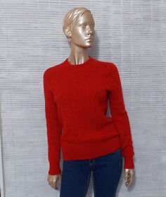 Red cashmere sweater Polo Ralph Lauren cable knit soft by IuSshop