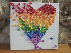 Butterfly Art / Butterfly Rainbow Heart / Nursery Decor /Children's Room Decor / Modern Art for Children - Made to Order by nitzzdarkangel Diy Wall Art, Diy Art, 3d Wall, Wall Mural, Cute Crafts, Diy Crafts, Paper Art, Paper Crafts, Ideas Prácticas