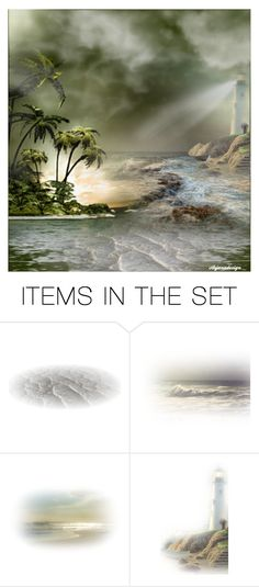 """""""THE LIGHTHOUSE THROUGH THE FOG"""" by arjanadesign ❤ liked on Polyvore featuring art, artset, artgallery and artexpression"""