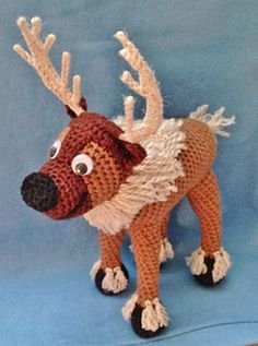 """Reindeer based on Sven, from Disney's """"Frozen."""" - Free Amigurumi Pattern - PDF File click """" Download"""" or """"free Ravelry download"""" here: http://www.ravelry.com/patterns/library/crocheted-reindeer-based-on-frozens-sven"""