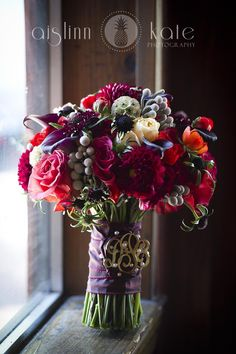 red and purple bouquet, dahlias, holiday bouquets, christmas bouquets, dark bouquets, brooches, monograms (Pensacola Wedding Photographer)