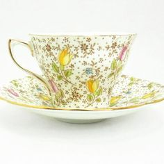 Rosina Bone China tea cup and saucer - June pattern with tulips - Made in England - Floral chintz teacup saucer set Cup And Saucer Set, Tea Cup Saucer, Teapots And Cups, Teacups, Antique Tea Cups, Bone China Tea Cups, Tea Art, Vintage Tea, Vintage China