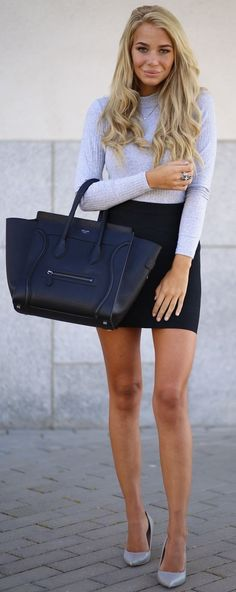 #fall #street #trends | Baby Blue Sweater + Black Skirt