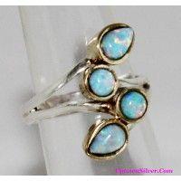 Artisan Jewelry 2 Tone Aqua Faux Fire Opal Multi Stone 925 Ster..