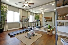 this home office and gym combo is organization at its best
