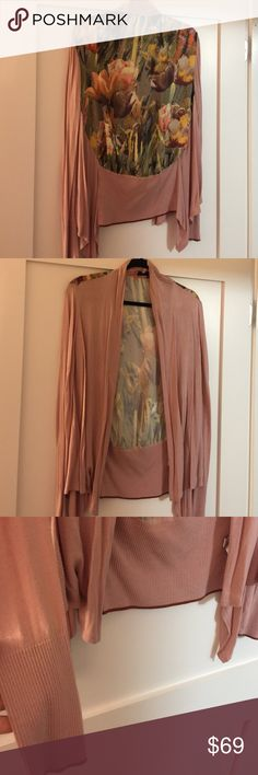 Ted Baker London sz 3 cardigan Adorable floral prints on back silky material beautiful light rose colored cardigan from the company Ted Baker of London size 3 which is approximately a medium to large so stunning and beautiful purchased a Bloomingdale's in New York City Ted Baker Sweaters Cardigans