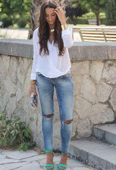 Zara  Camisas / Blusas, Zara  Tacones / Plataformas and Bershka  Jeans