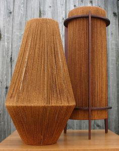 Jute, Teak and Metal Table Lamps by Fog and Morup, 1950s.