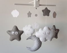 Handmade Baby Crib Mobile  Grey Crib Mobile  MADE TO by Chirimiri, $80.00