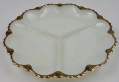 Anchor+Hocking+Glass+Fire+King+3+Part+Relish+Dish+-+Milk+Glass+Gold+Trim
